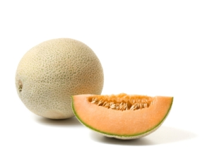 whole cantaloupe melon and slice